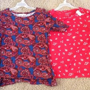 2 new loft tops shirts tees M med women's